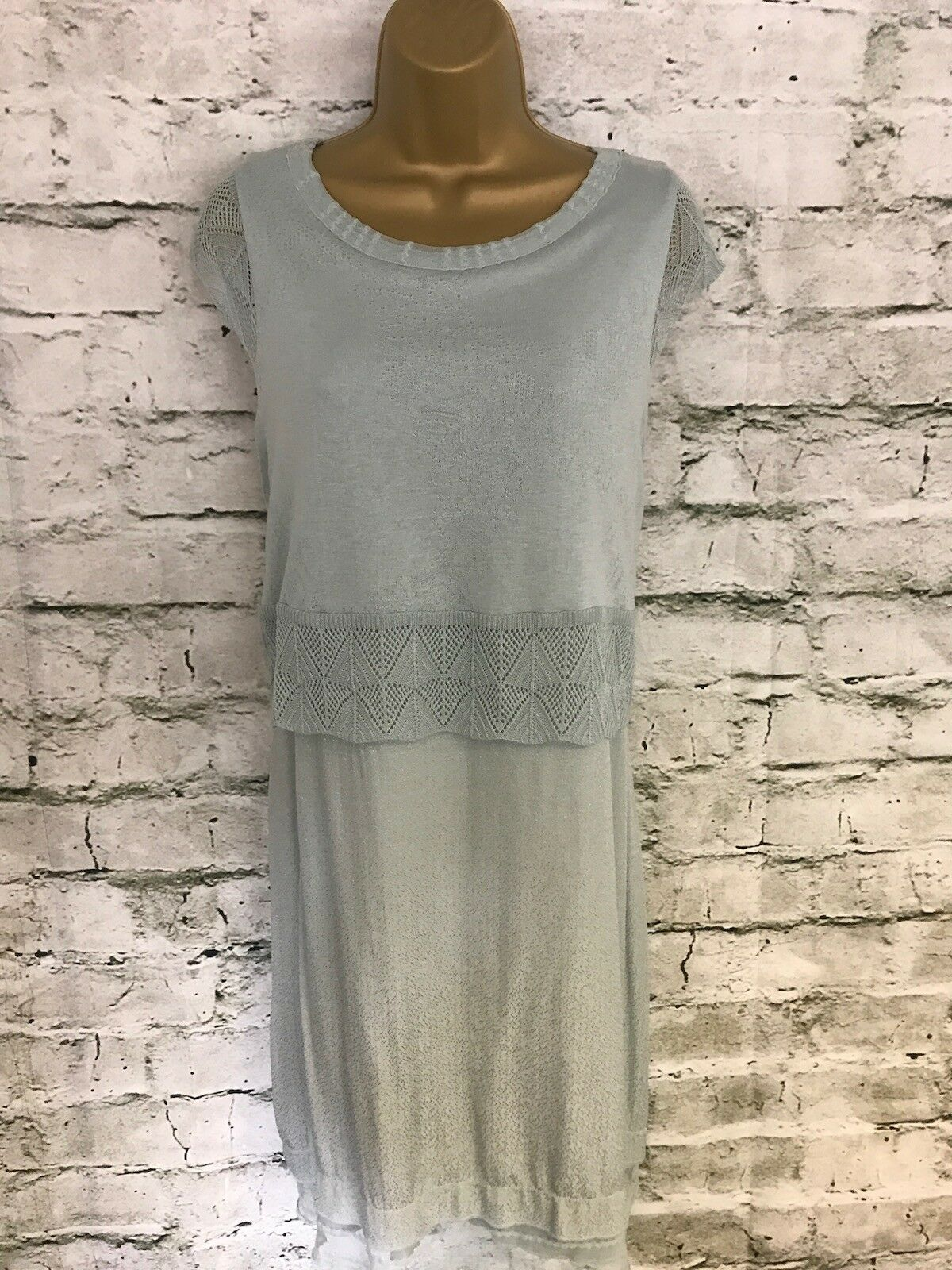 Mado et Les Autres Ladies Pastel Green Fine Knit Dress Size 42 RRP .95