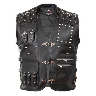 Mens Motorcycle Jacket Biker Vest Leather Vest Cowl Leather Cowl Buckle Vest