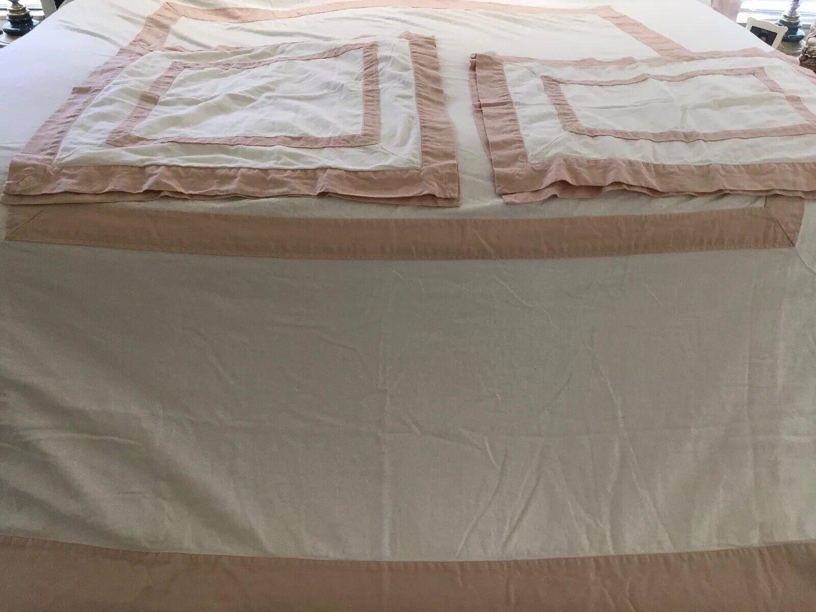 Pottery Barn Full Queen Duvet Shams White blueeesh Pink Linen Blend 5 Pcs EUC