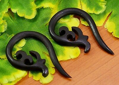 Tibetan Handmade Tribal Craft African Brown Wooden Fake Gauge Earring WER340A