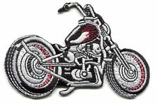 MOTORCYCLE black chopper red flames EMBROIDERED IRON-ON PATCH **Free Shipping**
