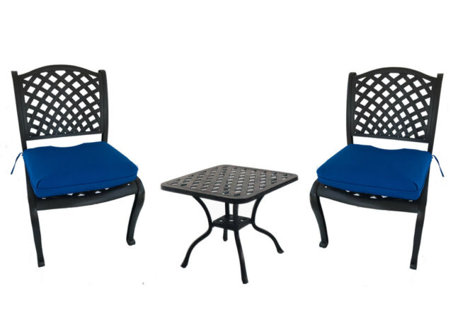 Cast Aluminum 3 Piece Bistro Set Outdoor Dining Armless Patio Chairs End Table