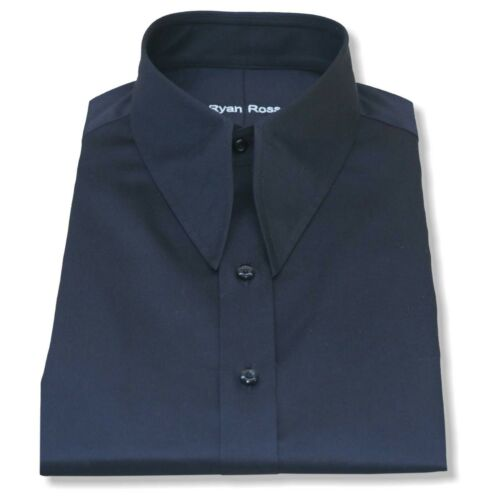 Mens Spear point Vintage collar shirt Black Cotton 1930s WWII Classic fit Gents