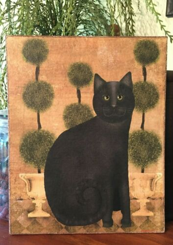 Primitive Folk Art Black Cat Topiary Print by Beth Albert on Canvas Board 8x10/""