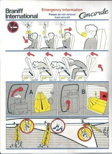 Braniff INTERNATIONAL (USA) - CONCORDE - SAFETY CARD - SAFETY