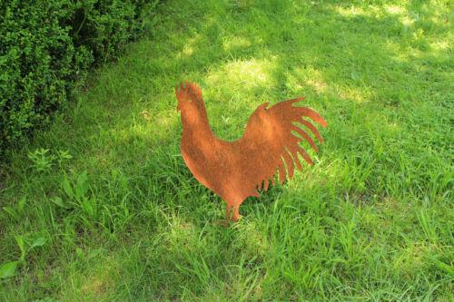 EDELROST Hahn Huhn Gockel Tier Skulptur Rost Gartendeko Edel Kunst Deko NEU
