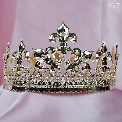 """King Prince 3.5"""" Tiara Diadem Gold Round Crown for Men Pageant Party Art Deco"""