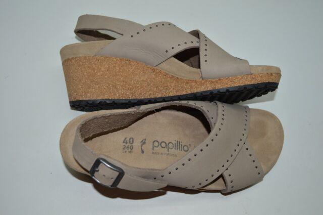 Papillio Birkenstock Wedge Slingback Sandals Samira Size 40 US 9 Biscuit Leather