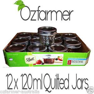 12-x-120ml-4oz-Quilted-Ball-Mason-Australia-Preserving-Jam-Jars-BPA-FREE-LIDS