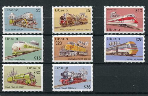 Liberia 2003 MNH World of Trains 8v Set Railways Chapelons Bullet Train Stamps