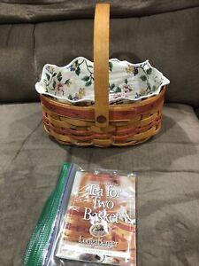 1999 LONGABERGER TEA FOR TWO Mother's Day Basket, White Vine Liner, Protector