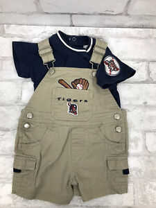 DETROIT TIGERS Baseball 2 Piece Infant Blue Shirt Shortalls Overalls Sz 6/9 M
