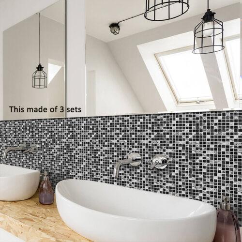 10pcs 3D Black Marble Mosaic Adhesive Bath Kitchen Wall Stair Floor Tile Sticker