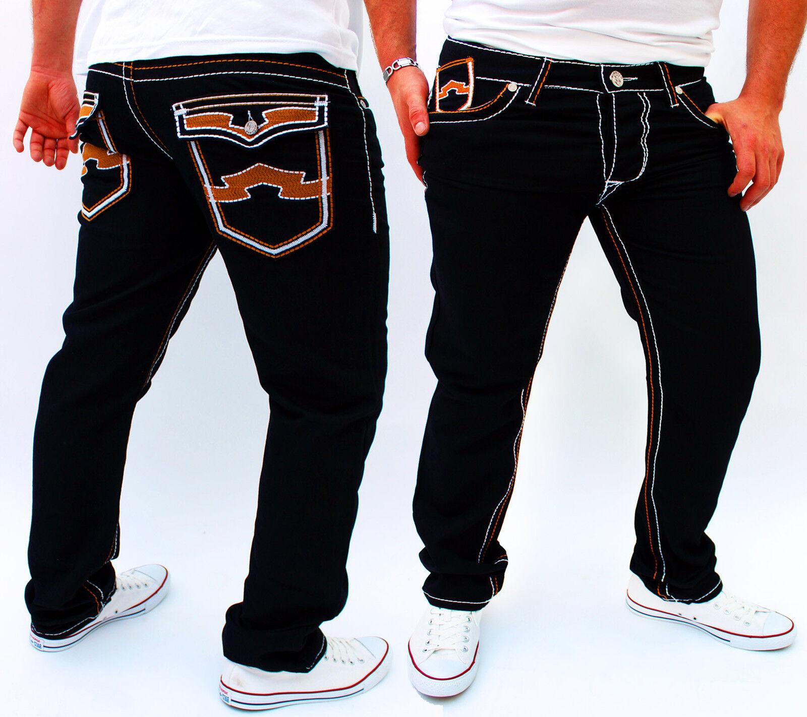 Zahida Jeans men Designer Pantaloni Cargo Stile Scuro black Cucitura Spessa