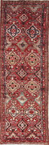 ANTIQUE-One-of-Kind-Geometric-Hamadan-Oriental-Hand-Knotted-3x10-WOOL-Runner-Rug