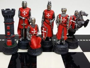MEDIEVAL-TIMES-CRUSADES-WARRIOR-RED-amp-BLUE-CHESS-MEN-SET-THE-CRUSADE-NO-BOARD