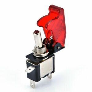Kippschalter LED beleuchtet mit Schutzkappe Klar EIN//AUS 12V//20A KFZ Boot Auto