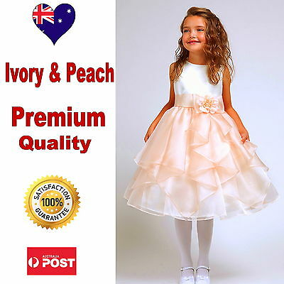 Ivory Peach Flower Girl Dress, Wedding Bridesmaid Pageant Girls Party Dress
