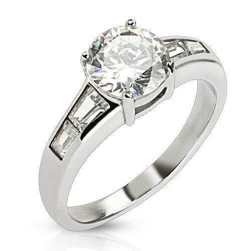 Classic 2ct Round Cut Solitaire with Emerald Cut Accents Engagement Ring
