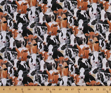 Cotton Farm Animals Packed Cows Cow Holstein Fabric Print by the Yard D478.21