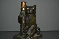 Antique early 20th century bronze/patinated brass figural Bear inkwell,c 1910