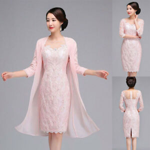 Details about Plus Size Mother Of the Bride Dresses With Jacket Women\'s  Pink Party Guest Gown