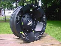 Xd Rockstar Dually Wheels Ford Chevy Dodge Black 16x6 W/ Lug Nuts 2) F 2) Rear