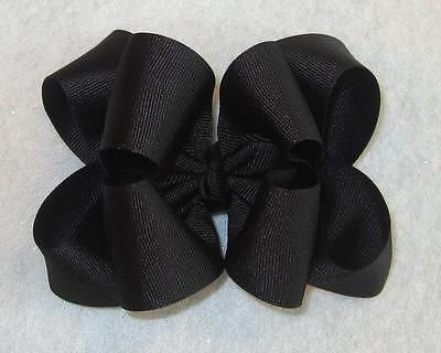"""Girls hairbows Big hair bows double layer boutique bow Silver Headband 4/"""" 5/"""""""