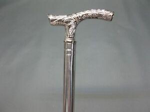 De-Luxe-Acier-Inoxydable-Canne-Baton-Marche-Randonnee-Argent-93-cm-Fritzstock