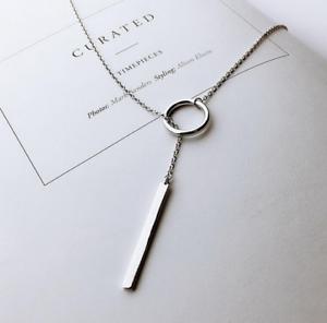 925-Sterlingsilber-Damen-Halskette-Circle-Balken-Bar-Lang-Kette-Silber-Filigran
