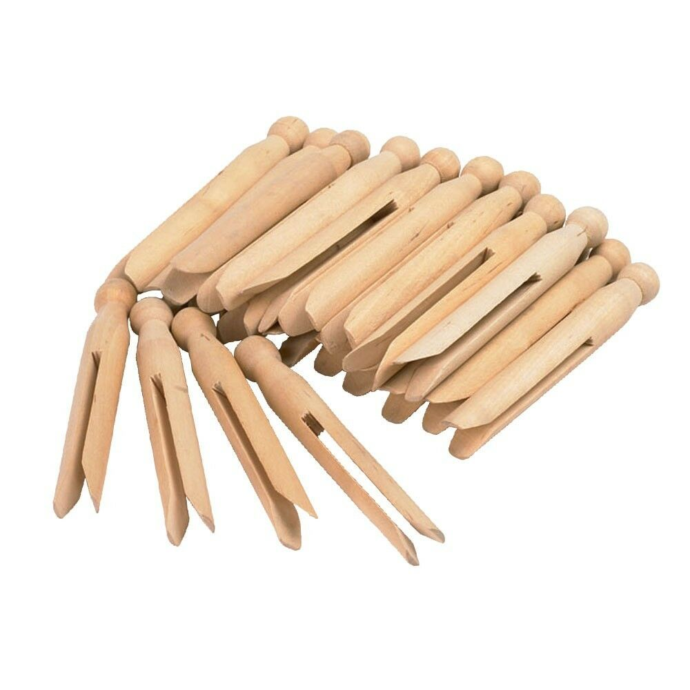 192 Pcs  Natural Wooden Dolly Pegs Washing clothes Peg  Cleaning  Kids Craft Art