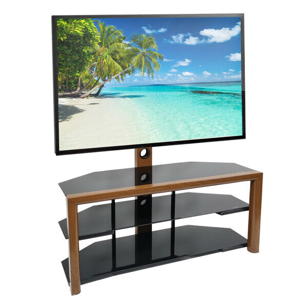 LEADZM Corner Floor TV Stand with Swivel Bracket 3-Tier Tempered Glass Shelves. Available Now for 168.99
