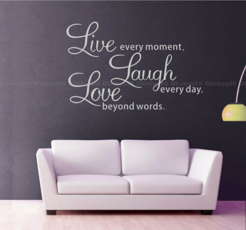 Wall Quotes decals stickers decors Vinyl art Live laugh love small,white