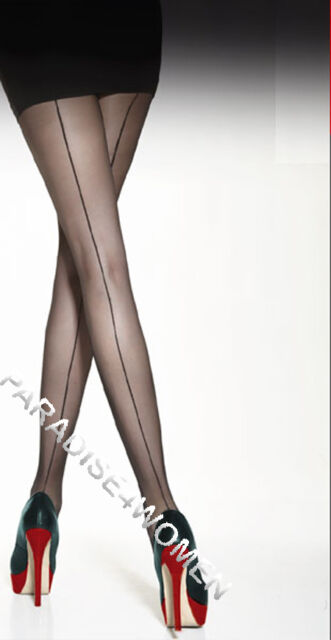 "Back Seamed Tights 20 Denier "" VOGA"" ,Patterned Tights, Made in Italy"