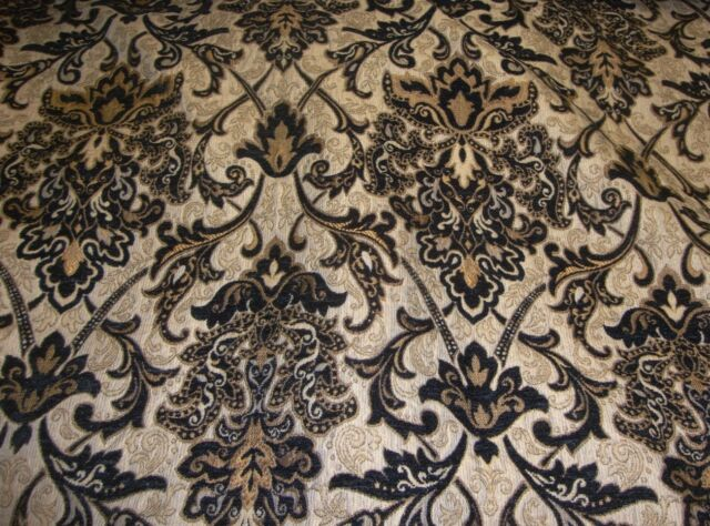 Chenille Upholstery 57 Wide Black Damask Drapery Fabric By The Yard