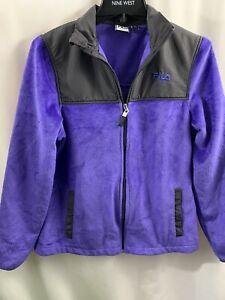 FILA Full Zip Up Mock Neck Long Sleeve Purple Fleece Jacket Women's Size Small