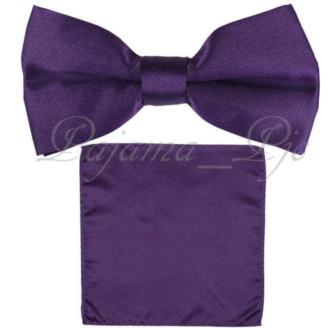 4bc297b5b71f Deep Purple Men's Solid Straight Cut Bow tie & Pocket Square Hanky Wedding  ...