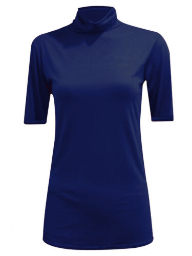 Womens Ladies Polo Stretch Roll High Neck 3//4 Sleeves Turtle Neck Top Shirt Tee