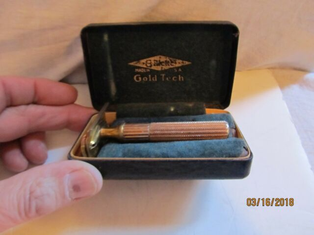 Vintage Gillette Gold Tech Safety Razor w/Case Made in USA