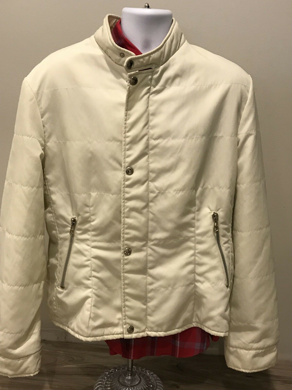 Dolce Gabbana Zip Button Coat With liner and Thumb Holes Sz 54 cream coloROT