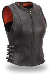 Ladies Leather Motorcycle Vest FIL550CSL