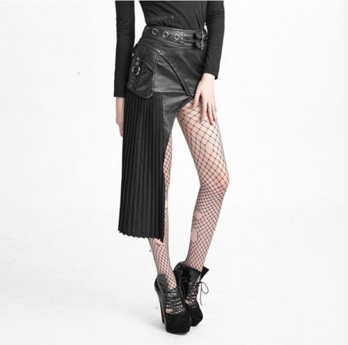 Punk Rave Asymmetric Osiris Skirt black pleated fabric /& faux leather goth Q-274