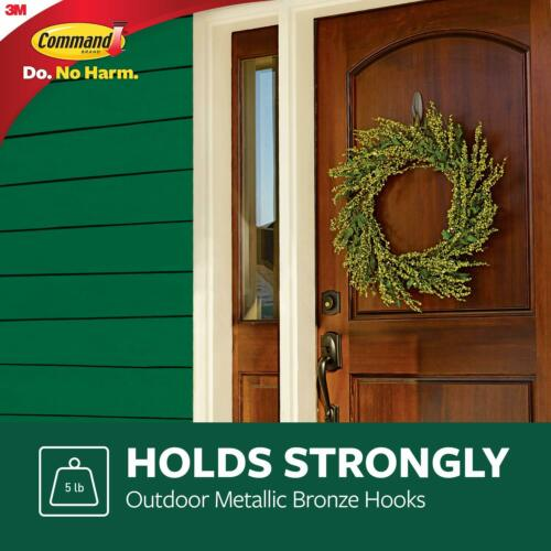 Command Outdoor Large Metallic Bronze Designer Hook w// Foam Strips 17083BZ-AWES