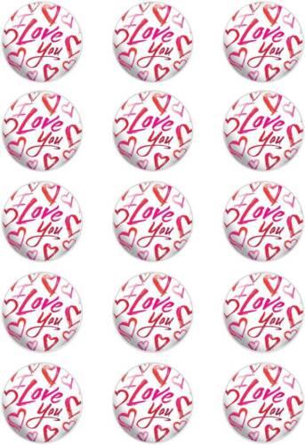 """Love you; Cupcake Topper ; 15 x 2"""" pre-cut Wafer circles ."""