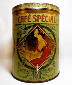 Late 19th C Vint Art Nouveau Belgian 'demoulin Cafe Special' Coffee Tin W/lid Periods & Styles Antiques