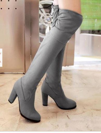 Zapatos especiales con descuento botas muslo mujer tacón alto 8.5 cm gris cómodo caldi como piel 9398