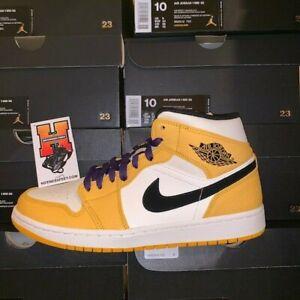 02dcc16e400 Nike Air Jordan 1 Mid SE Lakers University Gold Purple 852542 700 Sz