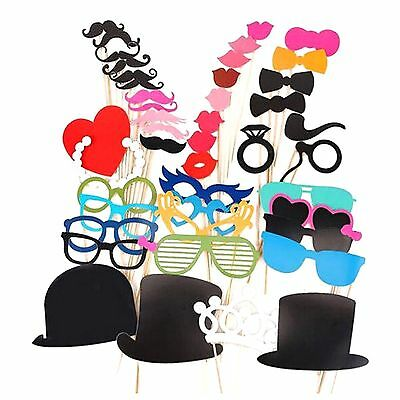 44Pcs Photo Booth Photobooth Props Wedding Party Photography Prop Moustache DIY