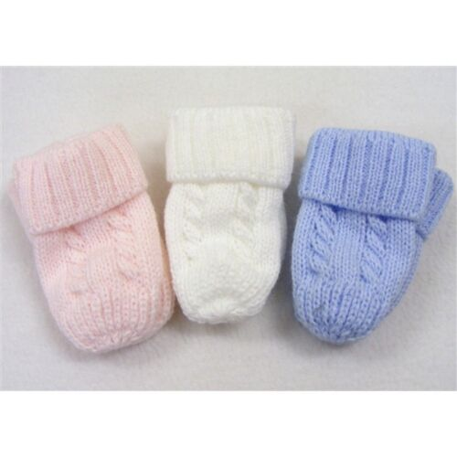 Kinder Baby Boys Girls Traditional Knitted Cable Detail Mittens Blue White Pink