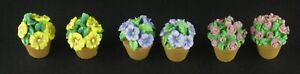 "Lot of 6 Mini Floral Pots for Décor 1"" Tall"
